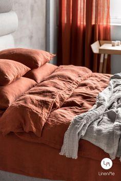 Linen Duvet Cover in Brick, Rust, Terra Cotta. Q… - Modern Linen Curtains, Linen Bedding, Linen Fabric, Bedding Sets, Mustard Bedding, Comforter, Washed Linen Duvet Cover, Bed Linen Sets, Linen Sheets