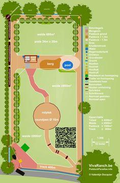 Voorbeeld plattegrond van een paddock paradise (van http://www.natuurlijkpaarden.nl)