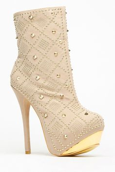 Vigo Fiore Beige Studded Gold Plated Platform Boots @ Cicihot Boots Catalog:women's winter boots,leather thigh high boots,black platform knee high boots,over the knee boots,Go Go boots,cowgirl boots,gladiator boots,womens dress boots,skirt boots.