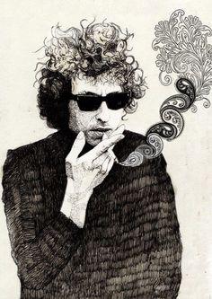 Bob Dylan Art by Georges Alexander Dupree Bob Dylan Art, Bob Dylan Poster, Bob Dylan Quotes, Stoner Rock, Jim Morrison, Pink Floyd, Rockabilly, New Wave, Illustration