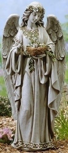 "Garden Angel Holding Bird Nest Statue: The dimensions of the statue are 24""H 10.75""W 8""D Weighs approximately 9 lbs."