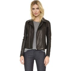 June Leather Jacket ($415) ❤ liked on Polyvore featuring outerwear, jackets, black, zip pocket jacket, long sleeve jacket, real leather jackets, leather jackets and zip jacket