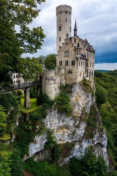 Lichtenstein Castle, Germany ~ Perched on a crag in the foothills of the Alps, The neo-gothic castle was built between Gothic Castle, Medieval Castle, Medieval Fantasy, Medieval Art, Victorian Castle, Fantasy Castle, Germany Memes, Beautiful Castles, Beautiful Places