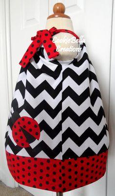 Sweet Ladybug Chevron & Polka Dot Pillowcase Dress