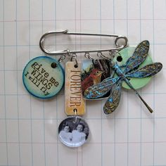 Mixed Media Art Pin Give Me Wings by RedLead on Etsy, $18.00