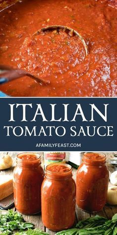 An authentic and delicious Italian Tomato Sauce that has been passed down through generations. So good, it's sure to become your family's go-to sauce recipe! # pasta sauce recipes The Best Italian Tomato Sauce - A Family Feast® Pasta Sauce Recipes, Tomato Sauce Canning, Best Tomatoes For Sauce, Pasta Sauce Canning Recipe, Tomato Canning Recipes, Italian Tomato Pasta Sauce, Canning Homemade Spaghetti Sauce, Italian Spaghetti Sauce, Roasted Tomato Sauce