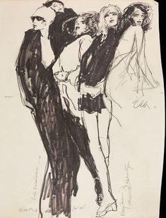 Joe Eula, illustration of Elsa Peretti, Loulou de la Falaise, Pat Ast, and Berry and Marisa Berenson, undated, The Halston Archives at The Museum at FIT. © MFIT