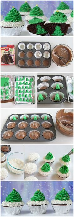 Cheesecake Stuffed Christmas Tree Cupcakes Hidden inside these festively decorated triple chocolate cupcakes are a surprise cheesecake Christmas tree. Christmas Tree Cupcakes, Christmas Snacks, Xmas Food, Christmas Cooking, Holiday Treats, Holiday Recipes, Christmas Christmas, Christmas Recipes, Christmas Crafts