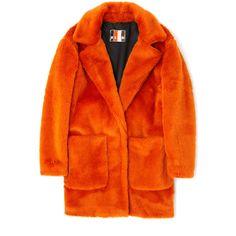 MSGM Orange Eco Fur Coat ($645) ❤ liked on Polyvore featuring outerwear, coats, orange coat, oversized coat, fur coat, msgm and long sleeve coat
