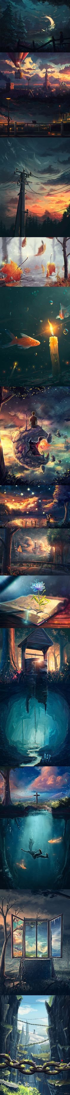 I kind of like the illustration created by combining the and visual in the same time. It gives people a different feeling because it not only containing the flat or complicated elements but it was combined in such a nice balance. Fantasy Landscape, Landscape Art, Fantasy World, Fantasy Art, Gato Anime, 3d Drawings, Anime Scenery, Grafik Design, Art Plastique
