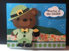 Cricut St Patricks Day card using Teddy Bear Parade