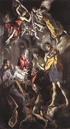 The Adoration of the Shepherds is a painting of the traditional subject which was painted during the last year of El Greco's life. The painting is a smaller version of a work which the artist made to hang over his own tomb in the church of Santo Domingo el Antiguo in Toledo. El Greco's signature, in Greek, may be seen in the lower left corner.