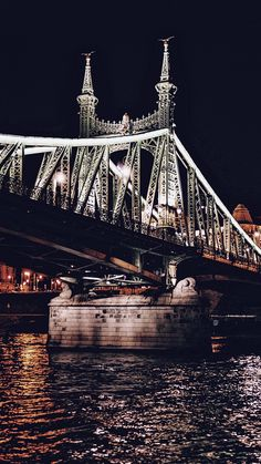 Liberty bridge by night - Budapest, Hungary Budapest Travel Guide, Liberty Bridge, Budapest City, Asia City, Virtual Travel, Most Beautiful Cities, Most Visited, Tower Bridge, Hungary