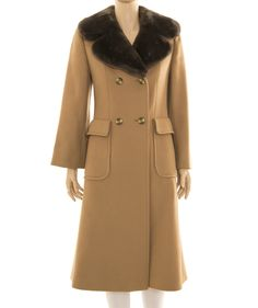 Size UK 12 – Camel wool long double breasted lined coat with beige and brown buttons to close, 2 front pockets with flaps, removable grey/brown fur collar… Women's Jackets, Jackets For Women, Fur Collars, Wool Coat, Brown And Grey, Double Breasted, Camel, Vintage Fashion, Coats