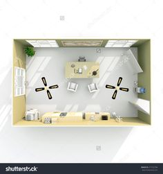 3d interior rendering top view of furnished boss office