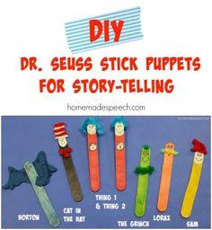 DIY Dr. Seuss Stick Puppets | http://homemadespeech.com/diy-dr-seuss-stick-puppets/