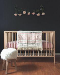 Ikea Sniglar Crib. Black nursery.