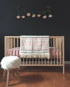 Ikea Sniglar Crib. Black nursery.