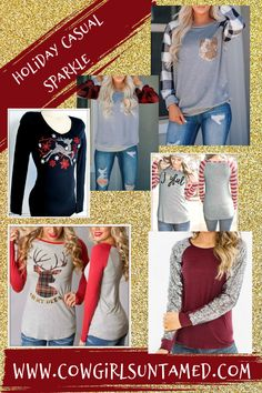 Let your holidays still sparkle, with our casual holiday tops! Many to choose from! Sequins, gold, crystals! Most are $38 and under! FREE USA SHIPPING w/ FREESHIP20! COWGIRLS UNTAMED wholesale & retail #holidayfashion #women #clothing #tops #fashion #casual #sequintops #sequins #deer #reindeer #plaidtops #Christmas #Thanksgiving #cowgirls #longsleeve #silver #gold #pocket #shirts #freeshipping #deals #wholesale #retail #boutique #cowgirlfashion #westernwear #westernstyle #snowflakes #trendy Cowgirl Style Outfits, Rodeo Outfits, Cowgirl Fashion, Plaid Fashion, Holiday Fashion, Western Style, Western Wear, All About Fashion, Passion For Fashion