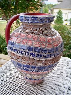 Great Mosaic Jug From Vintage Transferware-thats the credit that came with this pin