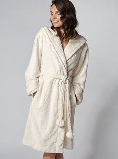 Florence hooded robe Colour: Ivory In a gorgeous floral embossed detailing, we love this snuggly hooded robe in ivory. Perfect to lounge in, the little details such as turn out cuffs, and pom pom waist tie finishes off this style perfectly. Satin Dressing Gown, Boux Avenue, Winter Wardrobe, Florence, Beachwear, Hoods, Dress Up, Glamour, Style Inspiration
