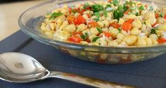 cool chickpea salad with red peppers and onions! so fresh! Peppers And Onions, Red Peppers, Chickpea Salad, Greek Recipes, Pasta Salad, Salad Recipes, Potato Salad, Shrimp, Salads