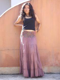 Boho Skirt ...Long Skirt ....Full Length Skirt ..Color by Ablaa, $38.00