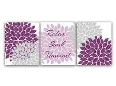 Bathroom Wall Art - Relax Soak Unwind Purple and Gray