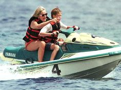 A year after her divorce (and a month-and-a-half before her sudden death), a carefree Diana spent a few idyllic days in July 1997 vacationing with Harry, 12, and William, 15 (not pictured), in Saint-Tropez – at the invitation Dodi Fayed's father.