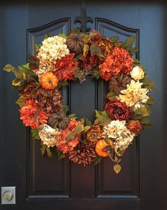 Autumn Wreaths, Fall Hydrangea Wreath, Fall Wreaths, Fall Hydrangeas, Front Door Wreaths, Orange Pumpkins Wreath, Holidays, Hydrangea Wreath