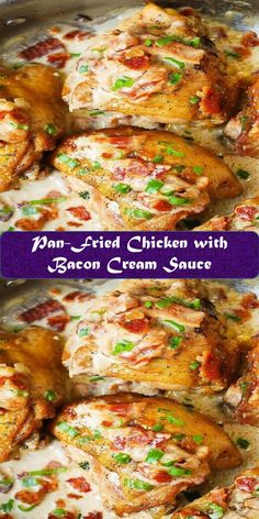 Pan-Fried Chicken with Bacon Cream Sauce Best Vegan Recipes, Fun Easy Recipes, Bacon Recipes, Chicken Recipes, Cooking Recipes, Healthy Recipes, Clean Eating Recipes For Dinner, Best Dinner Recipes, Bbq Ribs