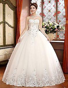 Ball Gown Sweep/Brush Train Wedding Dress -Sweetheart Tulle – USD $ 149.99