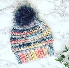 Crochet Beanie Hat, Beanie Hats, Knitted Hats, Bun Beanies, Chunky Crochet, Knit Crochet, Rainbow Crochet, Faux Fur Pom Pom, Winter Hats For Women