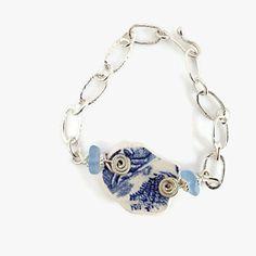 Plage poterie Bracelet bijoux de poignet de verre bleu mer