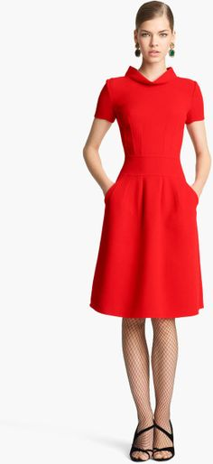 Oscar De La Renta Red Wool Dress