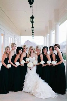 Black and White Wedding Ideas - black bridesmaids dresses. Gorgeous and classic! Maybe with gold or silver accents? Black Bridesmaids, Black Bridesmaid Dresses, Wedding Dresses, Bridesmaid Bouquets, Bridesmade Dresses, Wedding Bridesmaids, Perfect Wedding, Dream Wedding, Wedding Day
