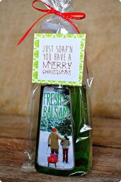 """Homemade Christmas Gifts Everyone will Love Bath and Body Works Soap. Homemade bath products always make the perfect giving gifts for everyone around you. This bath and body works soap wrapped with the fun saying, """"Just soap'n you have a Merry Christma Neighbor Christmas Gifts, Teacher Christmas Gifts, Neighbor Gifts, Homemade Christmas Gifts, Xmas Gifts, Craft Gifts, Holiday Fun, Teacher Gifts, Christmas Holidays"""