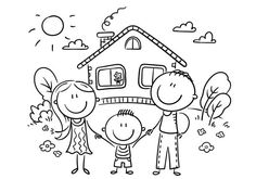 Happy family with one child near their house, black and white - ilustração de arte vetorial Bullet Journal Icons, Kindergarten Drawing, Family Drawing, Stick Family, Happy Cartoon, Stick Art, Aesthetic Template, Clipart Black And White, Adult Crafts