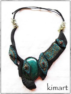Necklace with chrysocolla cabochon,labradorite and garnet