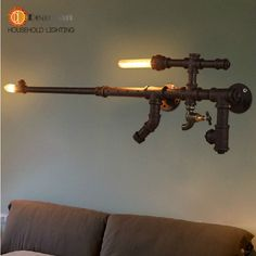 Find More Wall Lamps Information about Free Shipping Pipe Machine Gun Wall Lamp Vintage Aisle Lamp Loft Iron Wall Lamp Perfectly Matching Incandescent Light Bulb(52%),High Quality bulb lamp led,China bulbs tulips Suppliers, Cheap lamp marker from Dearlan HOUSEHOLD LIGHTING STORE on Aliexpress.com