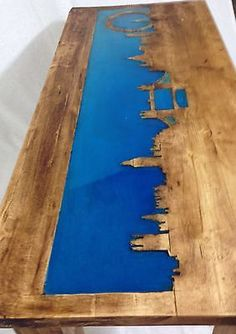 Large Pine Rustic Chunky Coffee Table Oak Finish London Skyline Glow Art