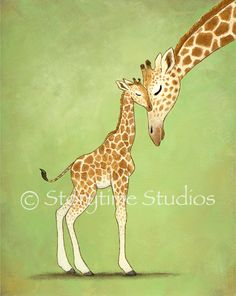 Giraffe Art Print Children's Nursery Baby by StorytimeStudios. $20.00, via Etsy. (tattoo idea... the baby)