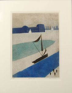 Julian Trevelyan RA (1910-1988) 'Thames Barge' etching with aquatint printed…