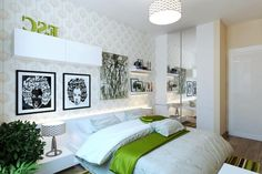 Nice Design Green  White Modern Bedroom With Soft Lighting Room Interior Decorating Ideas Bedroom : Get the right ideas with consider your budget Bedroom design
