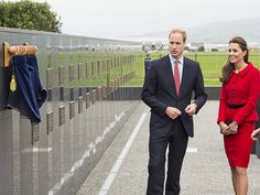 Will and Kate view the memorial wall at Wigram Air Base, which is dedicated to Royal New Zealand Air Force members who lost their lives in service to their country.