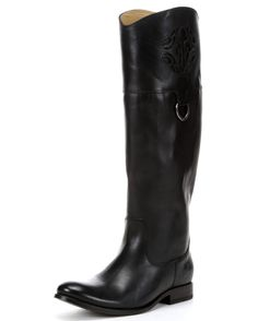 Simple, shapely Melissa - - in the hands of Frye's wickedly gifted leather craftsmen - - will never be the same. A new calligraphic double-F marque is laser etched in relief. A single D ring where collar and shaft meet adds to the style. This exquisite boot is crafted with full grain leather.