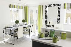 Dining Area, 4 bedroom show home, New Home, Lime green and black and grey décor