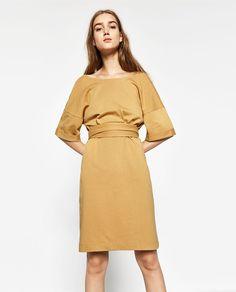 Image 2 of DRESS WITH TIE-WAIST from Zara
