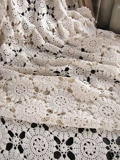 Vintage cream French crocheted bedcover, ca 1930