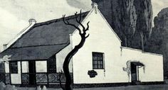 Early Republican house that stood in Pretoria, built in the vernacular Cape-Dutch architecture. This illustration was made in 1931 by South-African artist JH Pierneef Cape Dutch, South African Artists, Pretoria, Tree Branches, Trek, Art Pieces, Van, History, Architecture